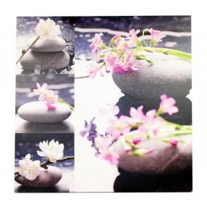 Canvas stenen met paarse bloemen